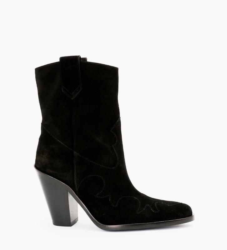 Jane 9 Western Mid Boots - Cuir Velours - Noir
