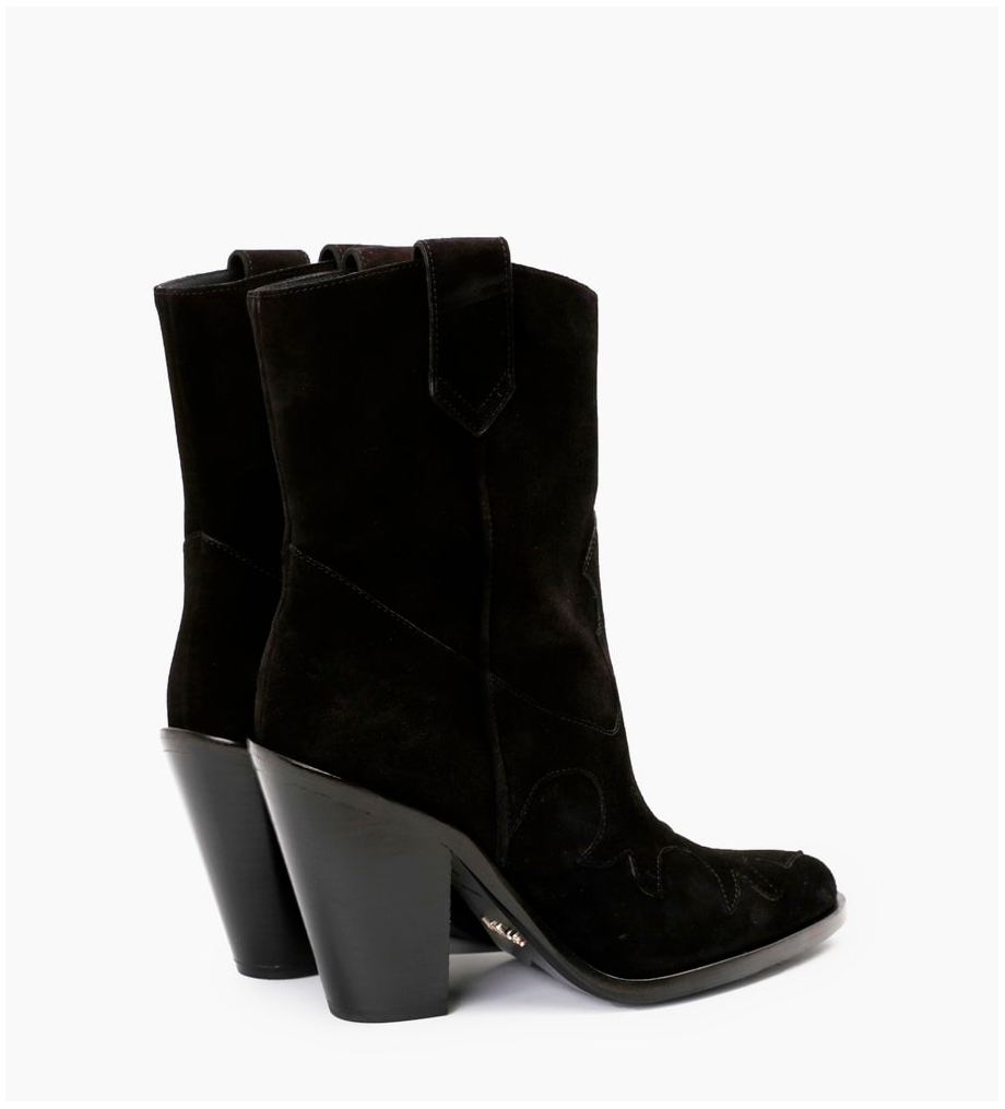 FREE LANCE Jane 9 Western Mid Boots - Cuir Velours - Noir