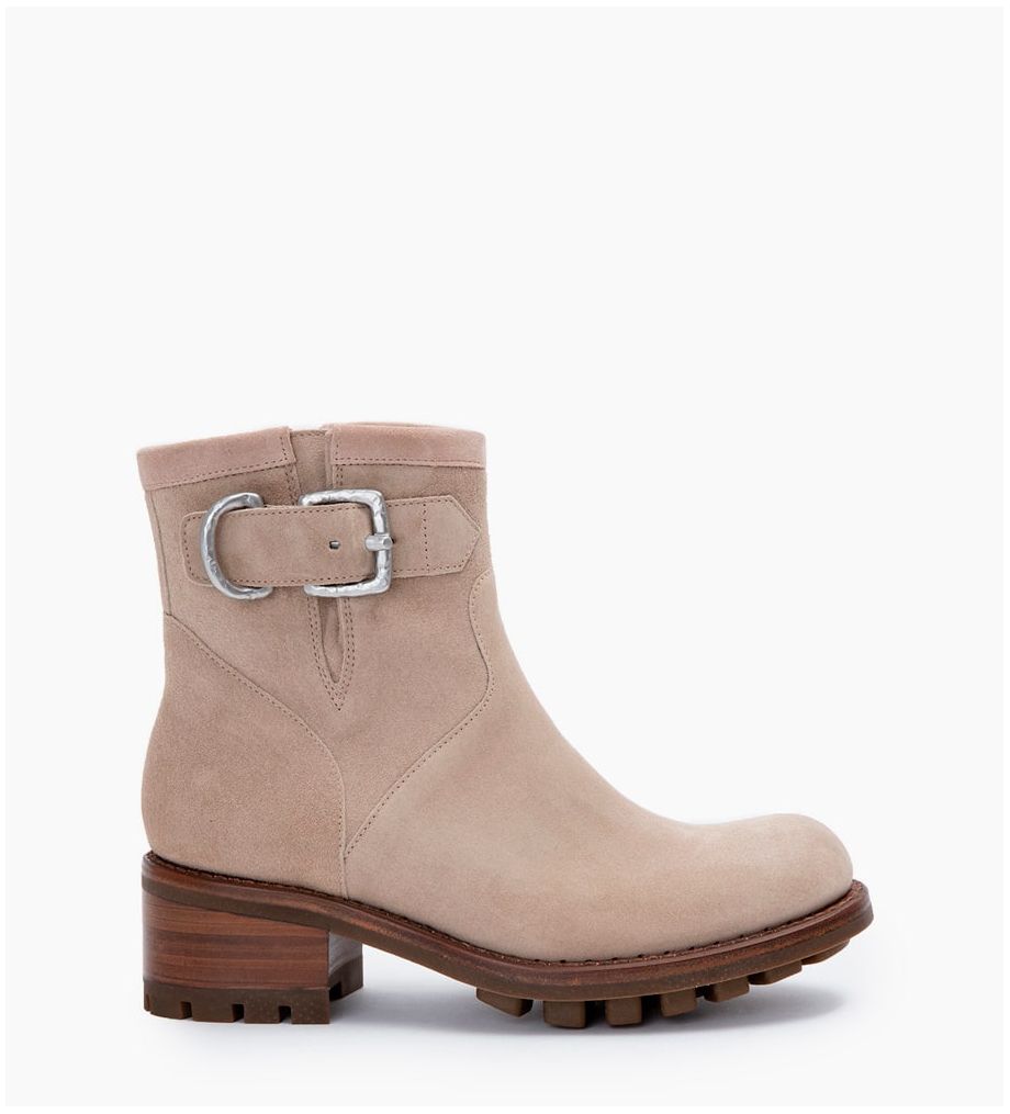 FREE LANCE JUSTY 4 SMALL GERO BUCKLE - CUIR VELOURS - CAPPUCCINO