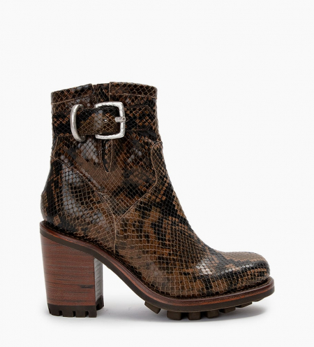 JUSTY 9 SMALL GERO BUCKLE - SNAKE PRINT - KAKI