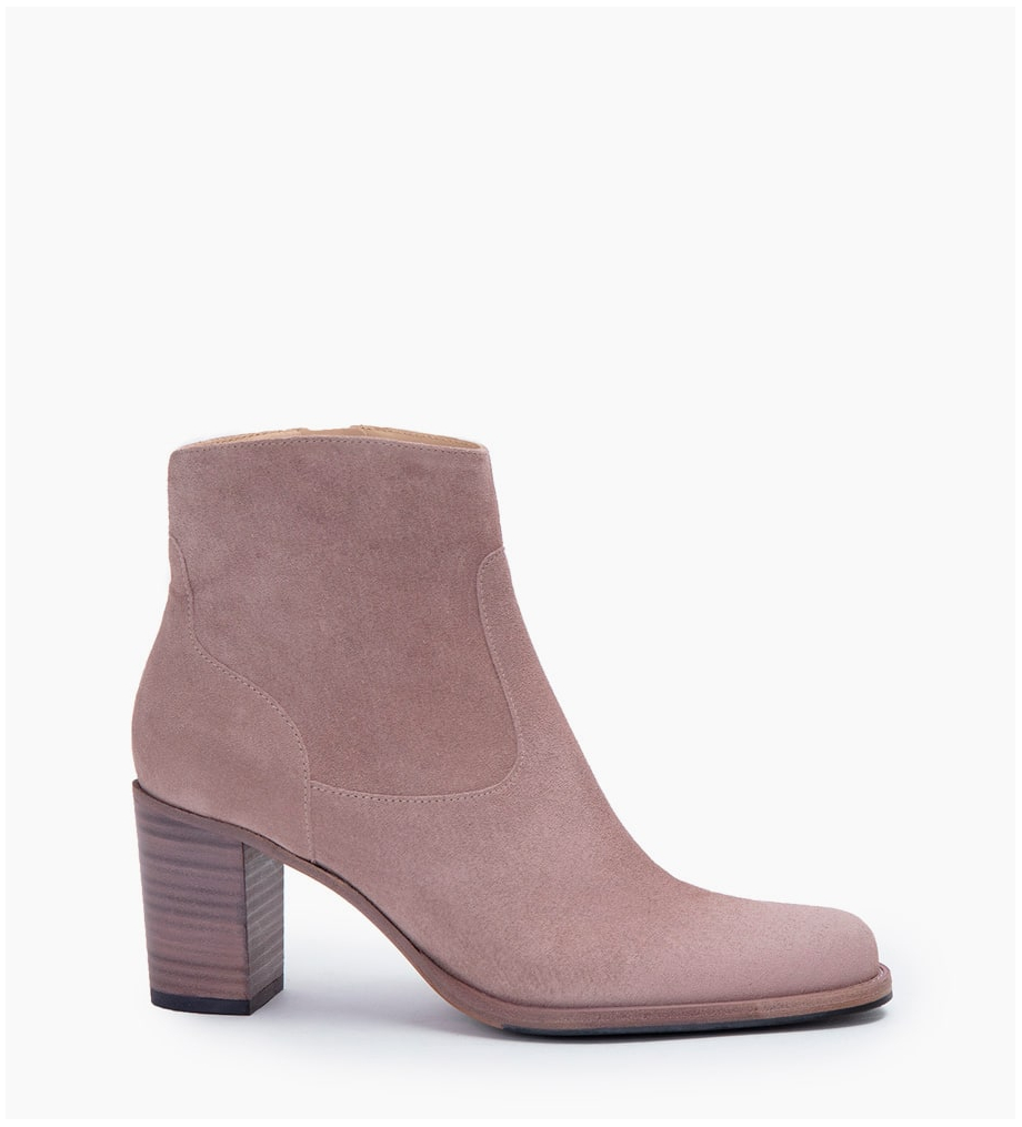 LEGEND 7 ZIP BOOTS - CUIR VELOURS - NUDE