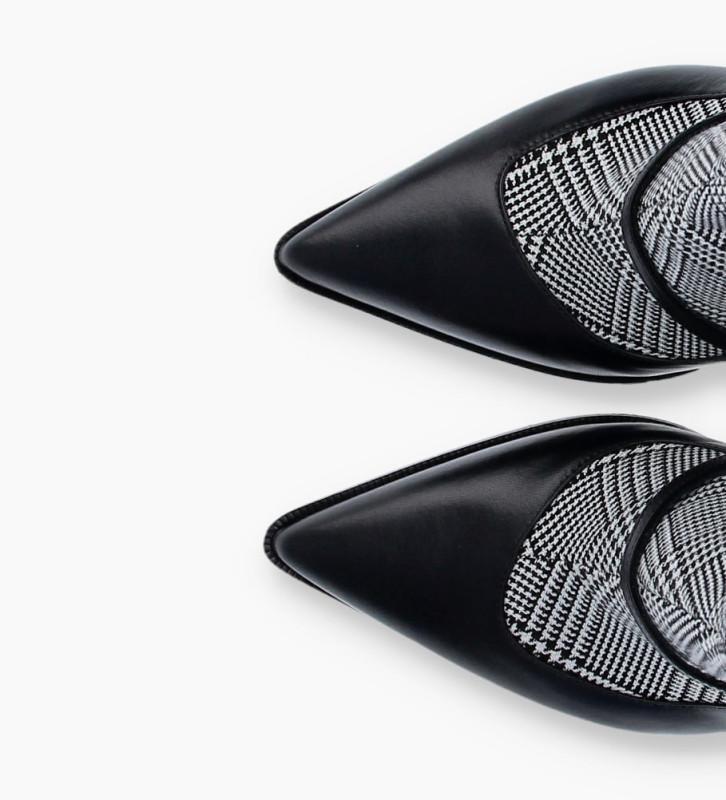 Eshop FREE LANCE Jamie 7 Asymétrique Buckle Boots - Cuir Nappa/Prince De Galles - Noir/Noir Blanc