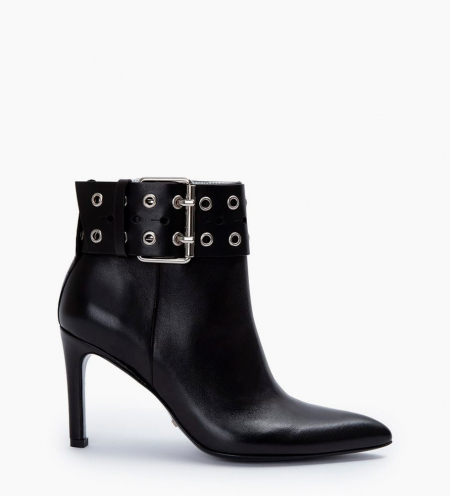 Leather ankle boot with buckle Forel 7 - Smooth calf leather - Black