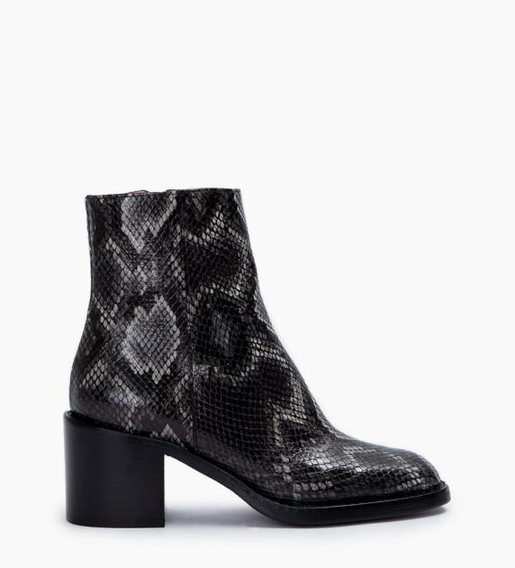 Chiara 6 Zip Boots - Snake Print - Ardoise