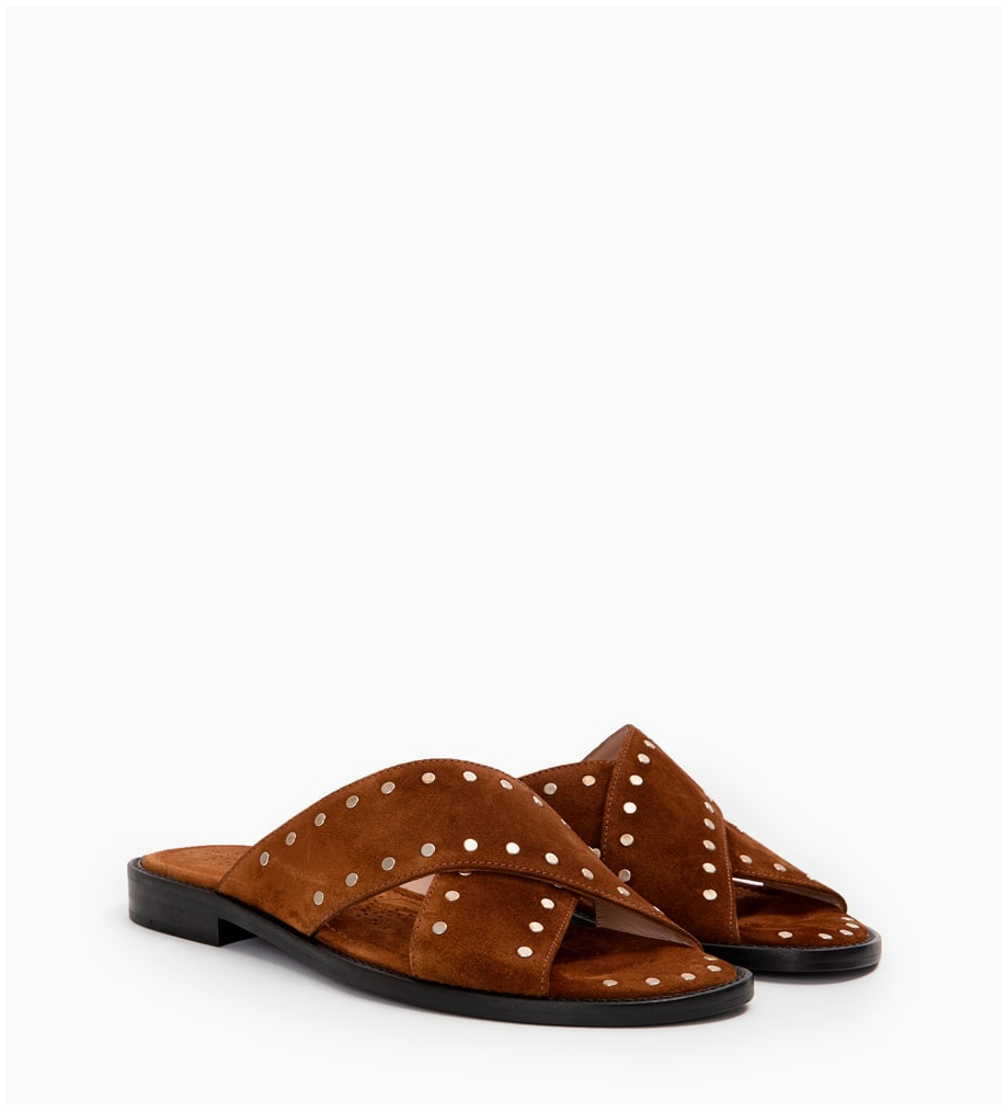 LENNIE STUD CROSS MULES - CUIR VELOURS - TABAC