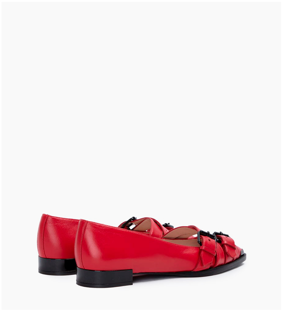 FREE LANCE Zoey Buckle Ballerines - Cuir Nappa - Cherry