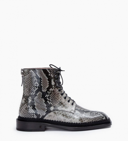 Chris 35 Back Zip Lace Up Boots - Snake Print - Caviar