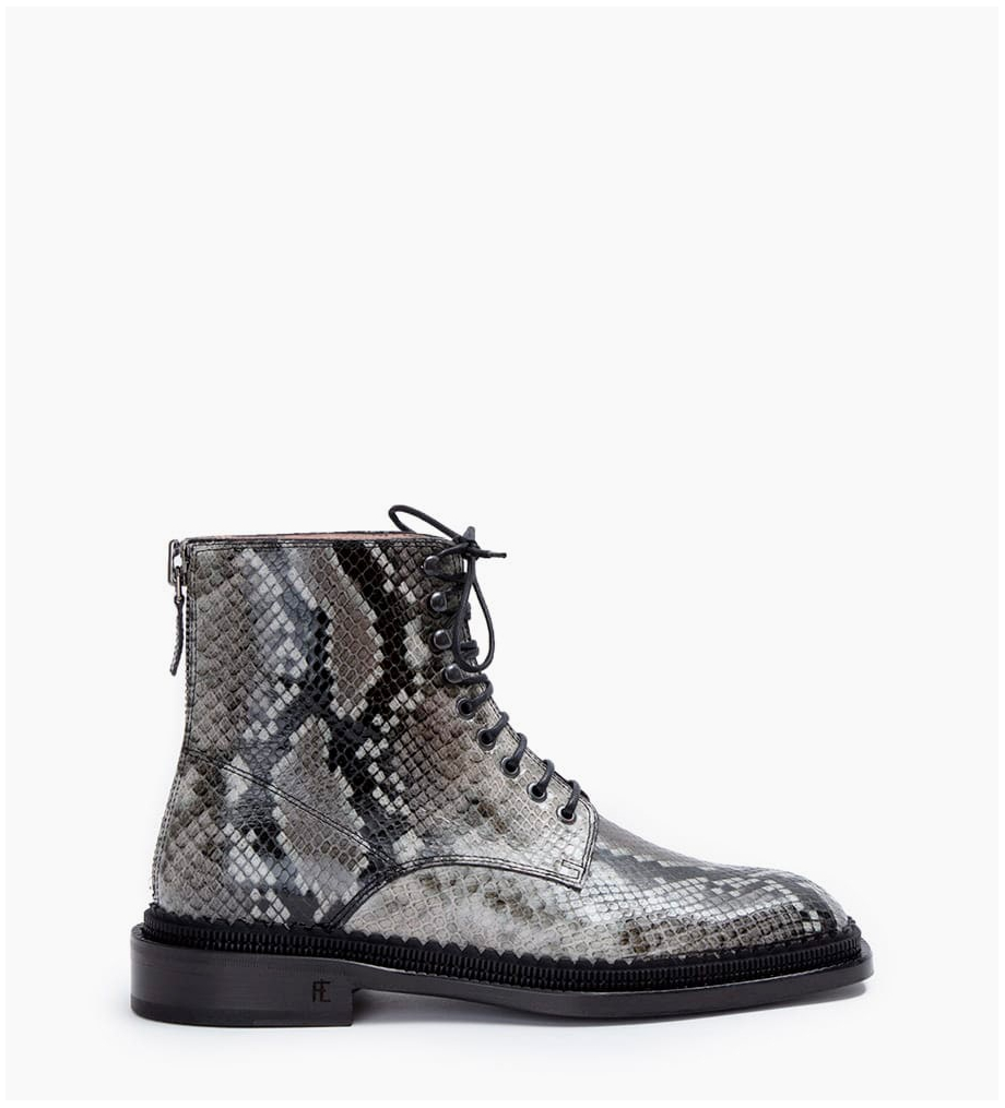 Eshop FREE LANCE Chris 35 Back Zip Lace Up Boots - Snake Print - Caviar