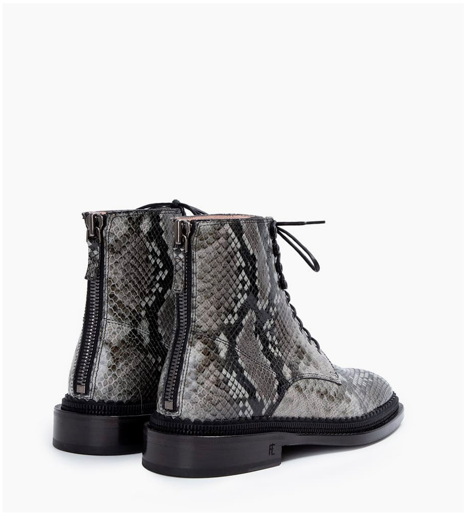 FREE LANCE Chris 35 Back Zip Lace Up Boots - Snake Print - Caviar