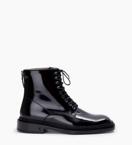 Chris 35 Back Zip Lace Up Boots - Cuir Glacé - Noir