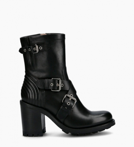 Biker boot with crossover straps JUSTY 9 - Smooth leather - Black
