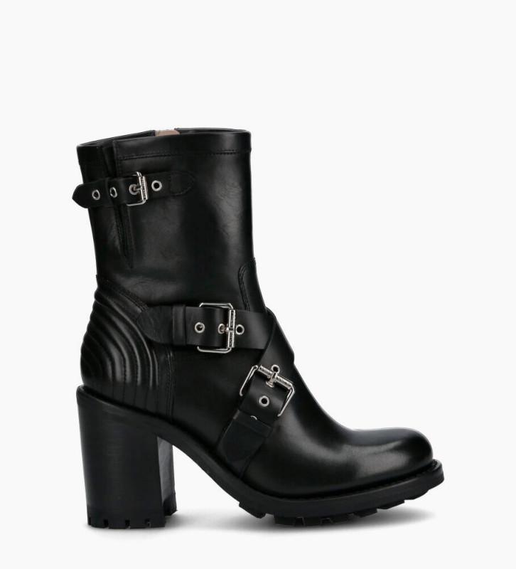 Justy 9 Cross Bucke Boots - Cuir Lisse - Noir