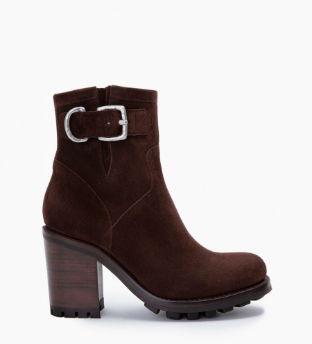 Justy 9 Small Gero Buckle Boots - Cuir Velours - Truffe