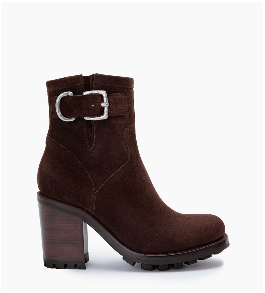 Eshop FREE LANCE Justy 9 Small Gero Buckle Boots - Cuir Velours - Truffe