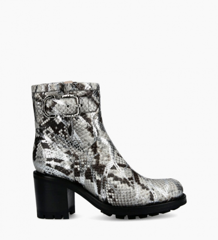 Justy 7 Small Gero Buckle Boots - Snake Print Graffiti - Argent