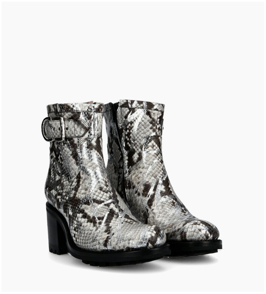 FREE LANCE Justy 7 Small Gero Buckle Boots - Snake Print Graffiti - Argent