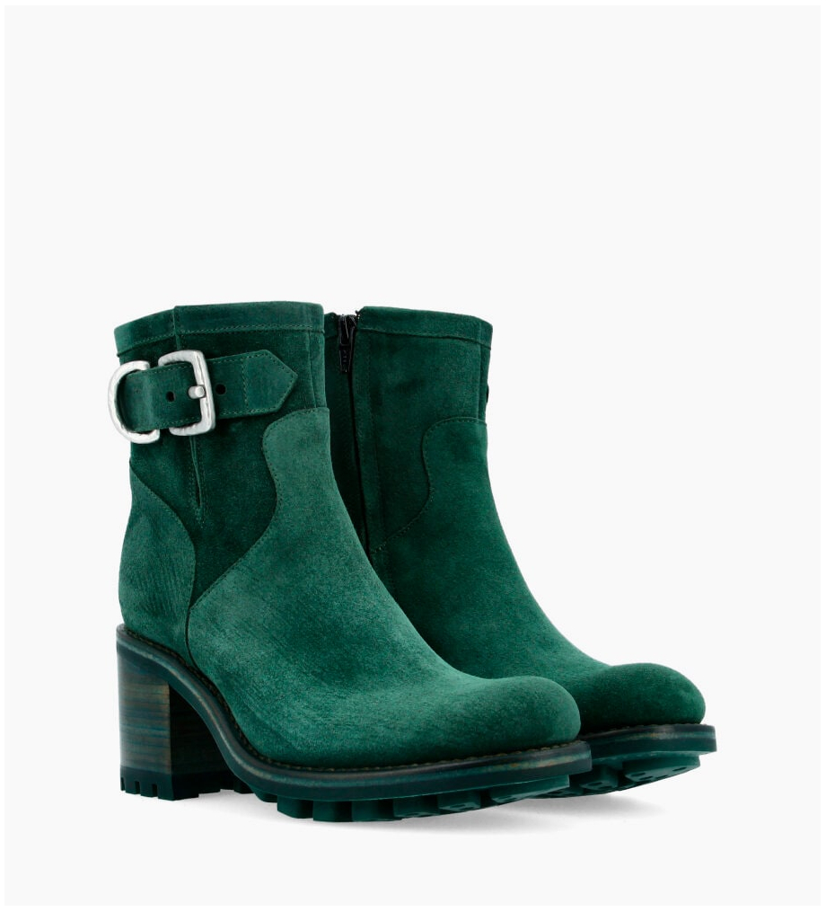 FREE LANCE Justy 7 Small Gero Buckle Boots - Cuir Velours - Forest