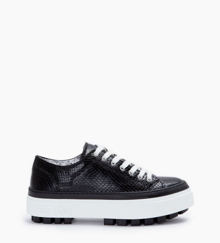 NAKANO LOW TOP SNEAKERS - SNAKE PRINT - NOIR