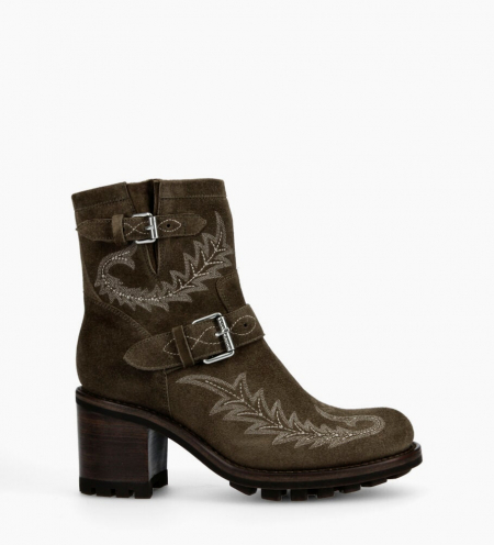 Justy 7 Broderie Buckle Boots - Cuir Velours - Army