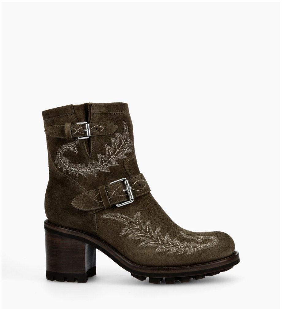 FREE LANCE Justy 7 Broderie Buckle Boots - Cuir Velours - Army