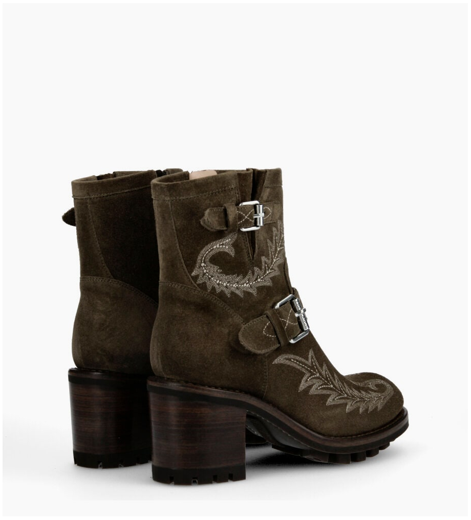 Eshop FREE LANCE Justy 7 Broderie Buckle Boots - Cuir Velours - Army