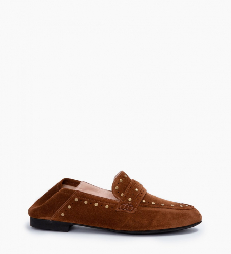 NOÏS STUD LOAFERS - CUIR VELOURS - TABAC
