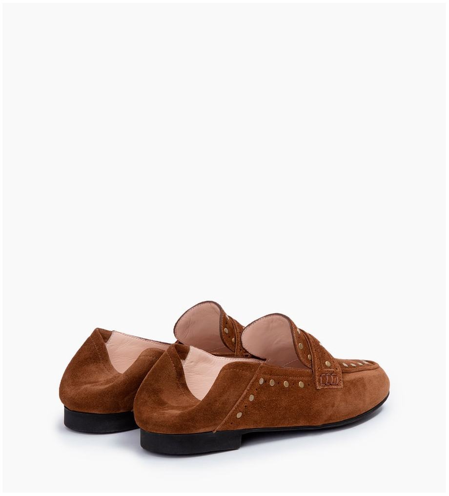 FREE LANCE NOÏS STUD LOAFERS - CUIR VELOURS - TABAC