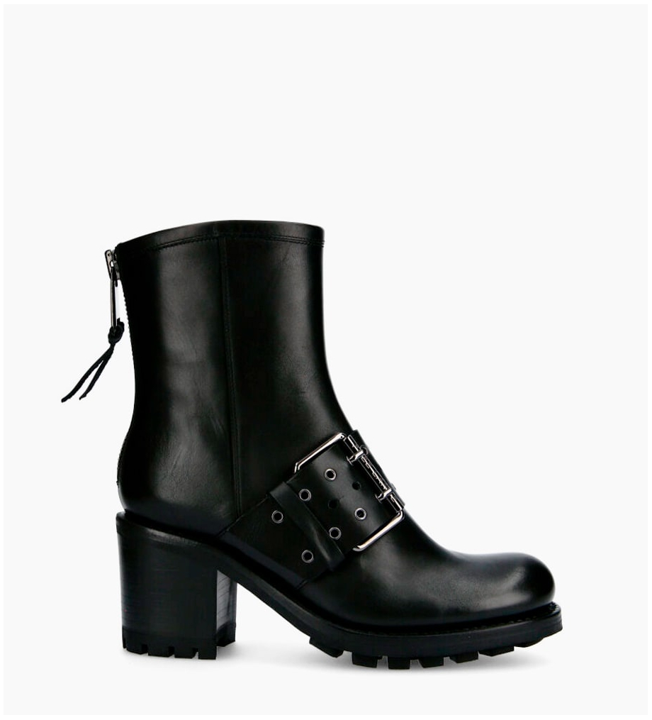 Justy 7 Back Zip Buckle Boots - Cuir Lisse - Noir