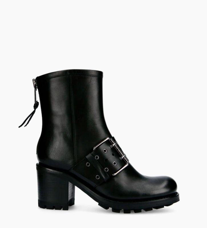 Justy 7 Back Zip Buckle Boots - Cuir Lisse - Noir