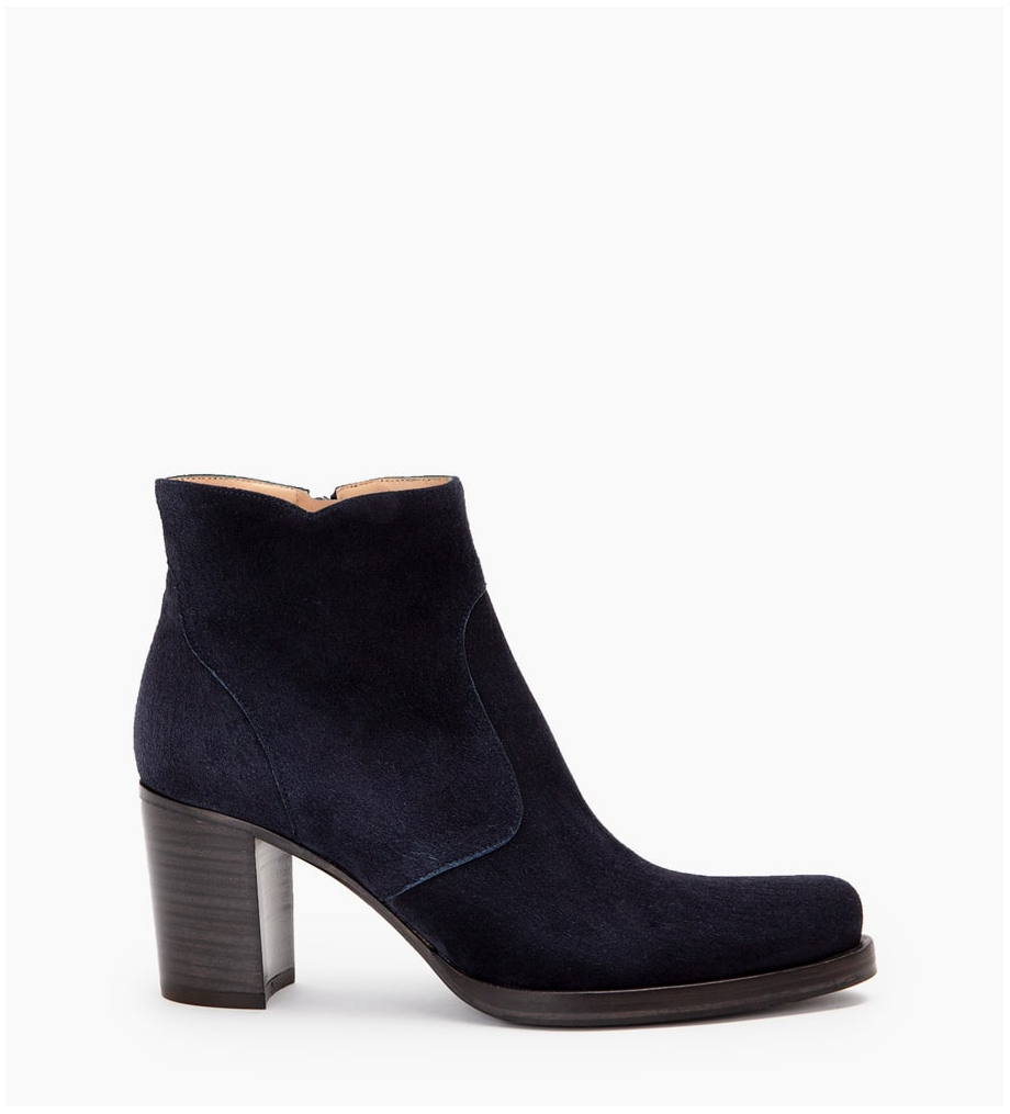 PADDY 7 ZIP BOOT - CUIR VELOURS - BLEU NUIT