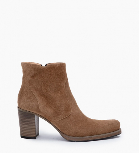 PADDY 7 ZIP BOOTS - CUIR VELOURS - TAUPE
