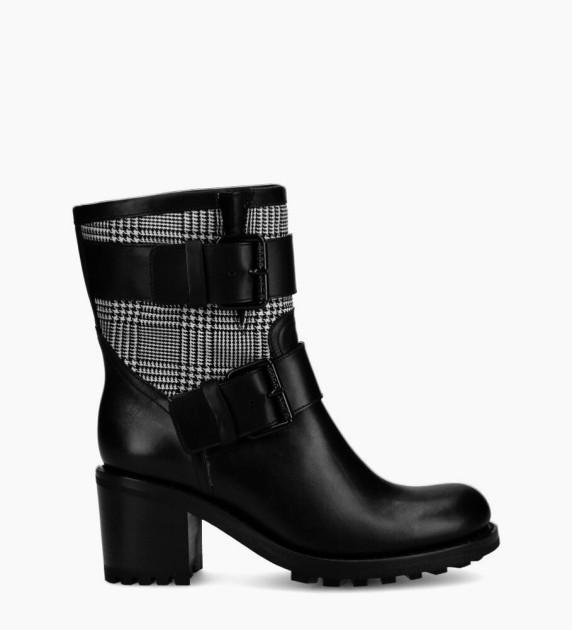 Biker 7 Mini Strap Boots - Cuir Lisse/Prince Galles - Noir/Blanc