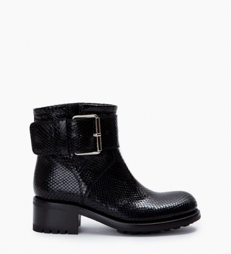 Biker ankle boot with buckle BIKER 4 - Python-print leather - Black
