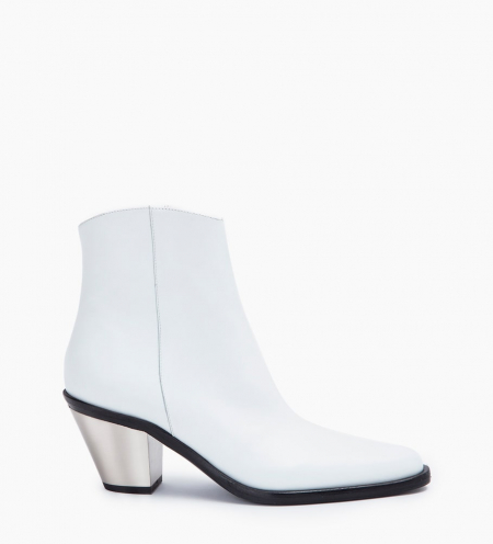 TRINITY 7 ZIP BOOTS - VEAU LISSE - BLANC