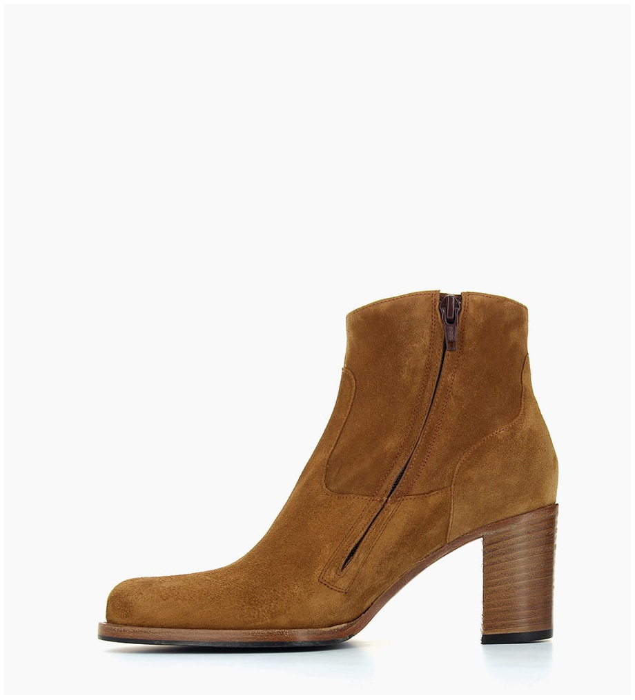FREE LANCE LEGEND 7 ZIP BOOT - CUIR VELOURS - CIGARE