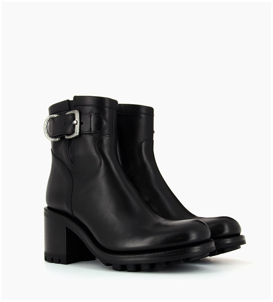FREE LANCE JUSTY 7 SMALL GERO BUCKLE - CUIR LISSE - NOIR