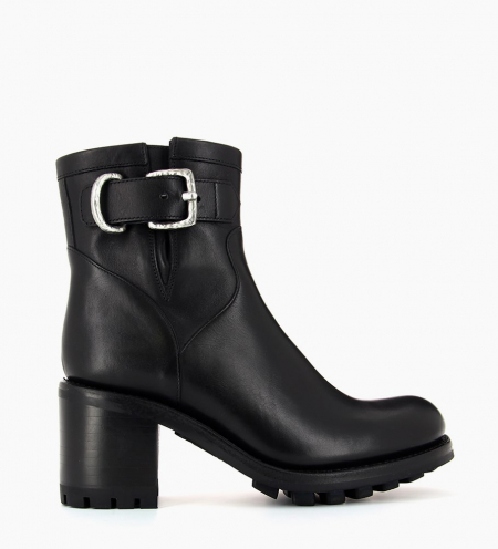 JUSTY 7 SMALL GERO BUCKLE - CUIR LISSE - NOIR