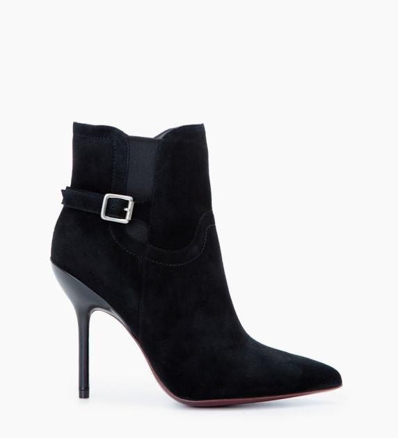 Jonie 10 Chelsea Buckle Boots - Chèvre Velours - Noir