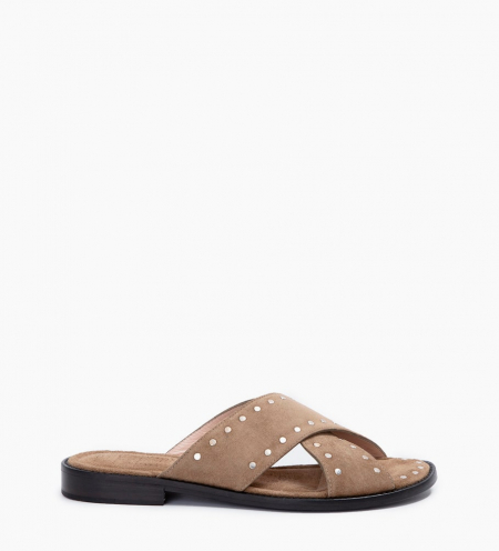 LENNIE STUD CROSS MULES - CUIR VELOURS - TAUPE