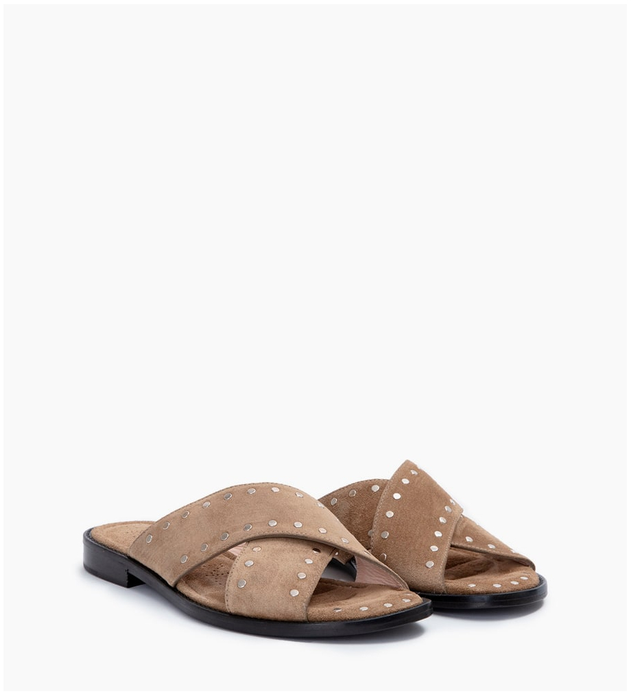 FREE LANCE LENNIE STUD CROSS MULES - CUIR VELOURS - TAUPE