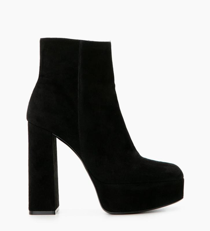 FREE LANCE Maddie 9 Zip Boots - Chèvre Velours - Noir
