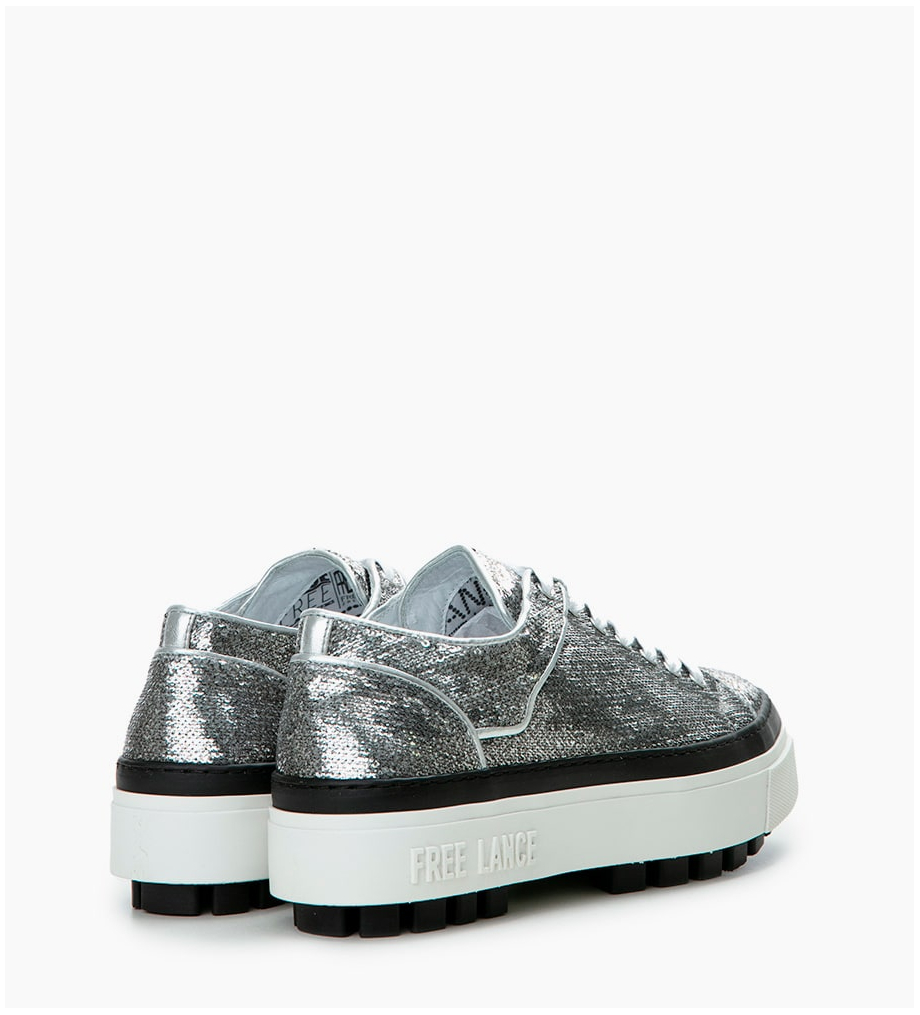 FREE LANCE Nakano Low Top Sneakers - Sequins/Cuir Lisse - Argent