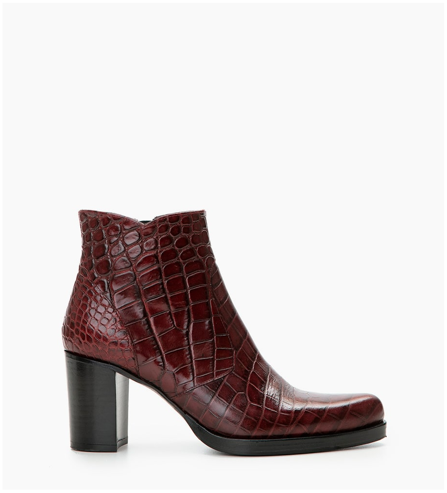 PADDY 7 ZIP BOOTS - CROCO - BORDEAUX