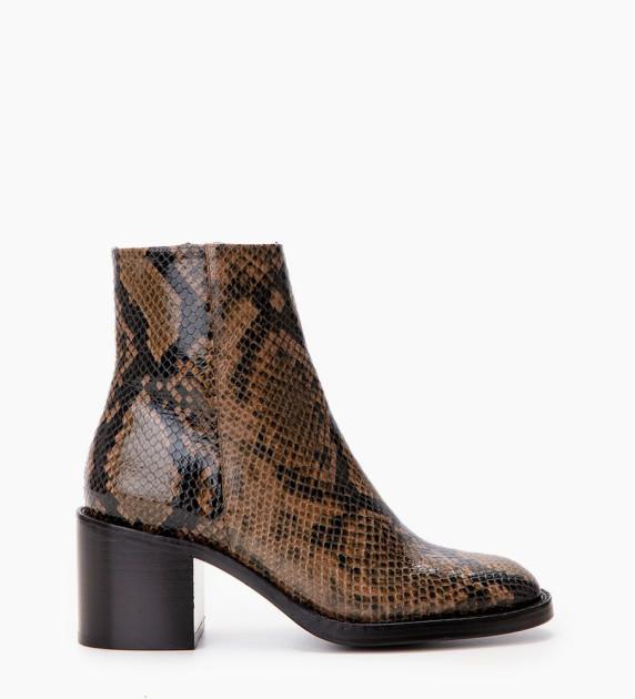 Chiara 6 Zip Boot - Snake Print - Kaki