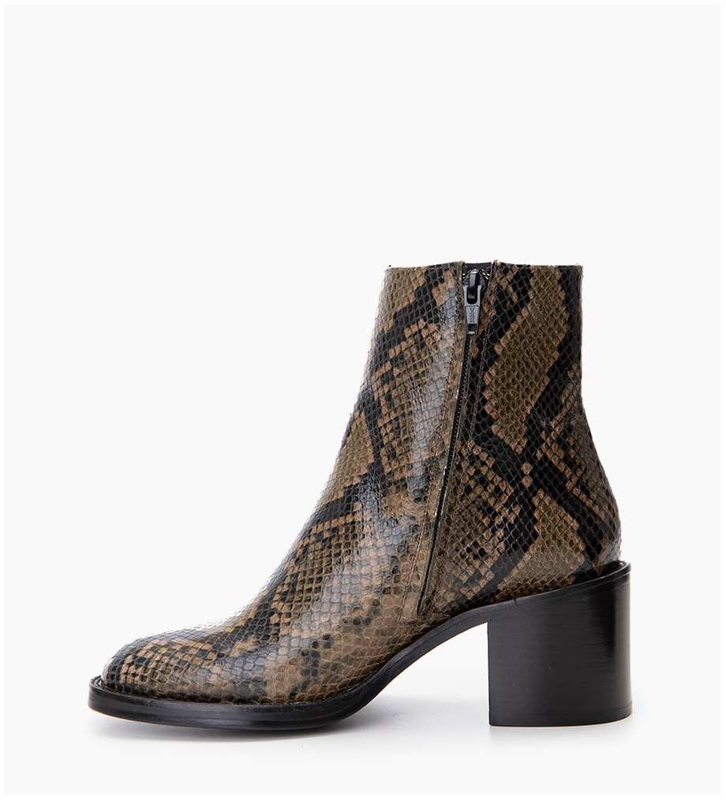 FREE LANCE Chiara 6 Zip Boot - Snake Print - Kaki