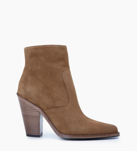 Jane 9 Zip Boots - Cuir Velours - Cigare