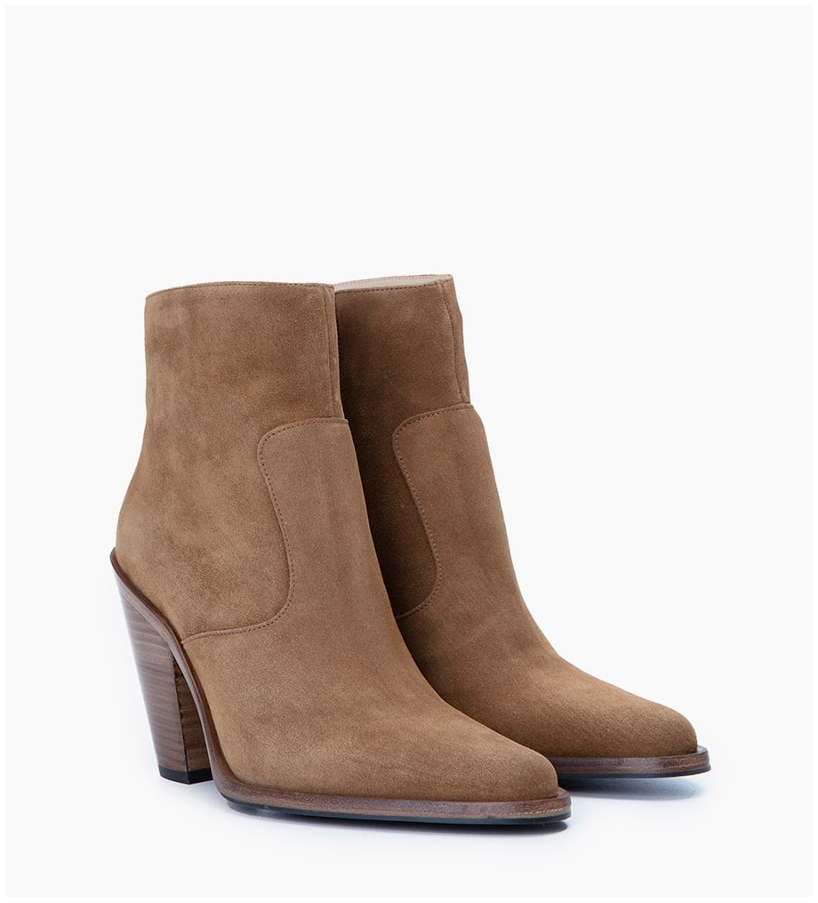 FREE LANCE Jane 9 Zip Boots - Cuir Velours - Cigare