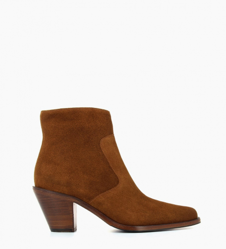 JANE 7 ZIP BOOTS - VEAU VELOURS - TABAC