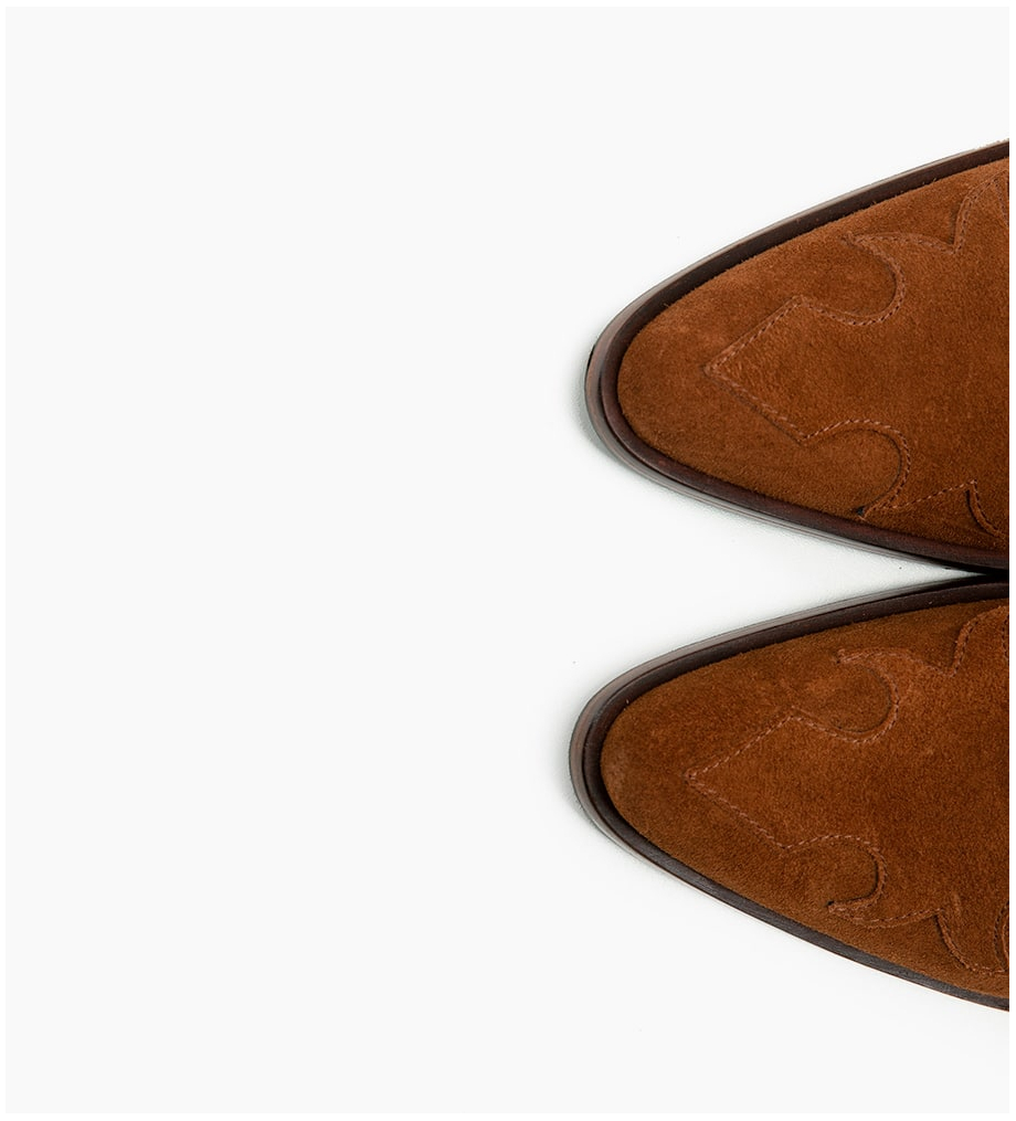 FREE LANCE Jane 7 Western Zip Boots - Cuir Velours - Tabac