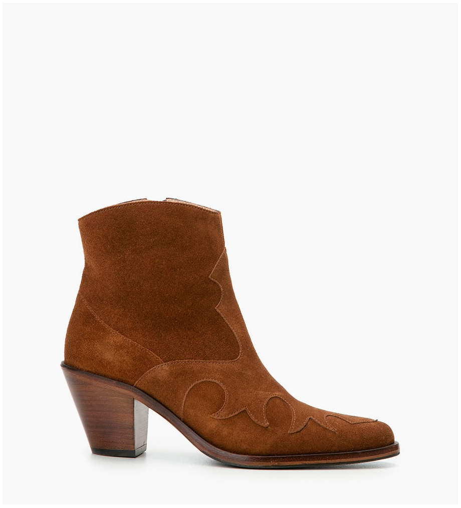 Jane 7 Western Zip Boots - Cuir Velours - Tabac